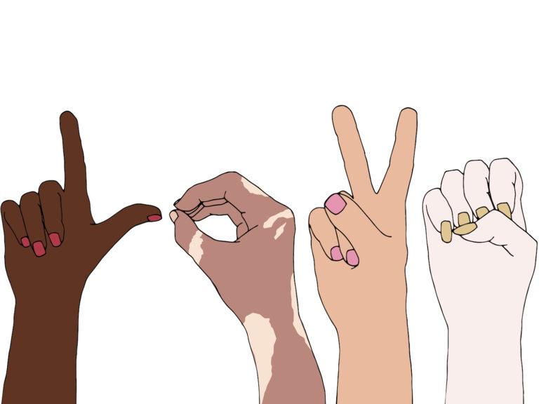 Bild mit Fingern symbolisch für Gleichgesinnte finden