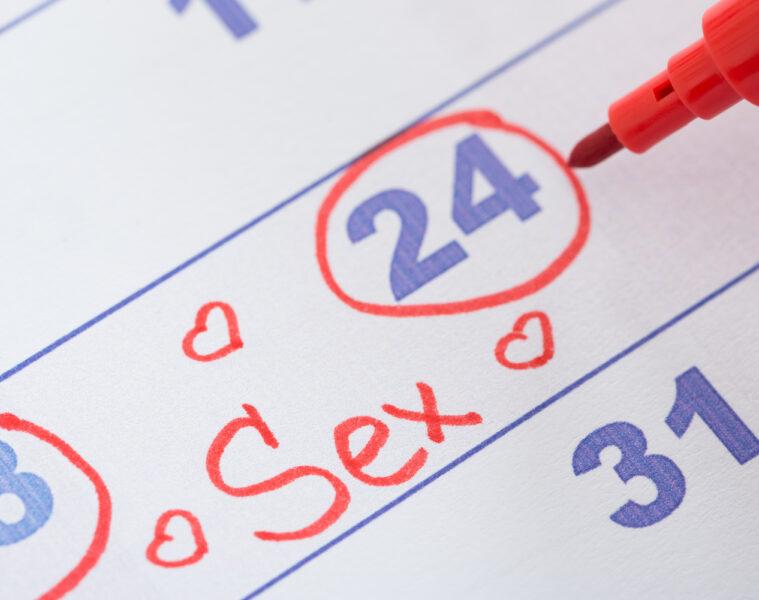 Kalender mit der Aufschrift Sex als Symbol für Sex nach Plan